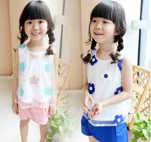 名迪 2014夏装韩版新款短袖+短裤休闲套装童装儿童宝宝女童套装