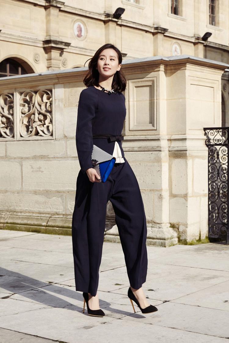 一件代发明星刘诗诗同款西装长裤套装女装棉纺