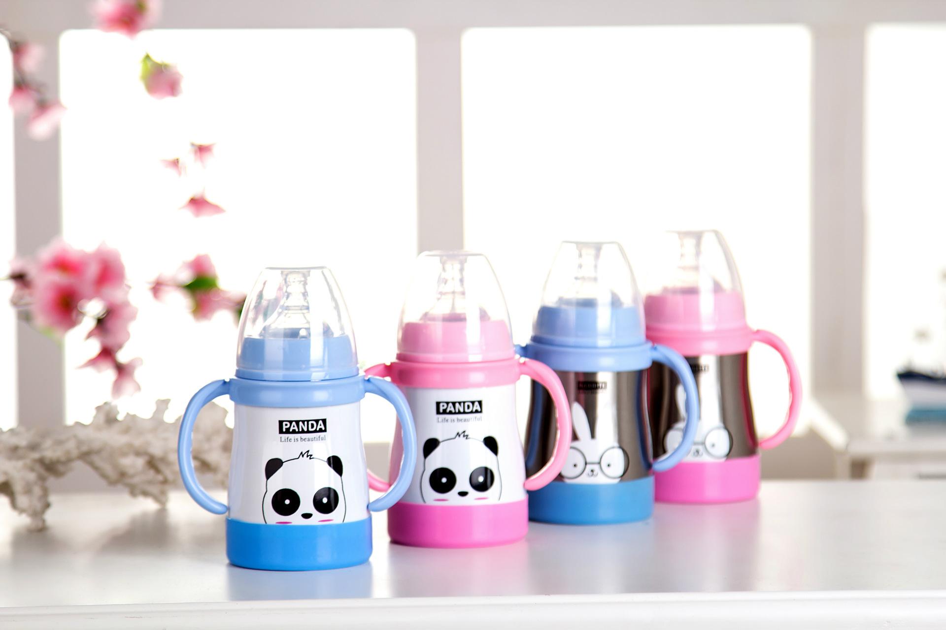 香港ctapstar不锈钢儿童保温奶瓶婴儿不锈钢奶瓶 熊猫奶瓶