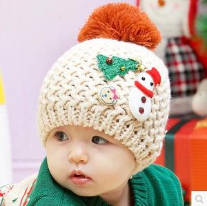 韩国婴儿宝宝儿童帽子秋冬季0-1岁男童女童小孩毛线