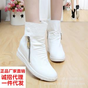 批发温州女鞋内增高双拉链朋克罗马短靴纯色平底松糕鞋韩版女单鞋