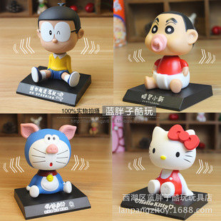 Dora A Dream Doraemon Hello Kitty Crayon smoking car shaking his head doll ornaments car accessories gift