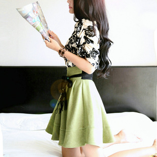 Korean Women 2014 summer fresh and elegant ink printing short-sleeved dress lapel child