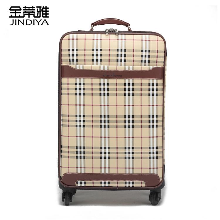 潮流拉杆箱经典大格子行李箱 白色格子万向轮登机箱旅行箱511图片