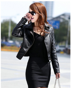 New women's European style ladies leather jacket oblique zipper motorcycle leather short leather wholesale women&#39