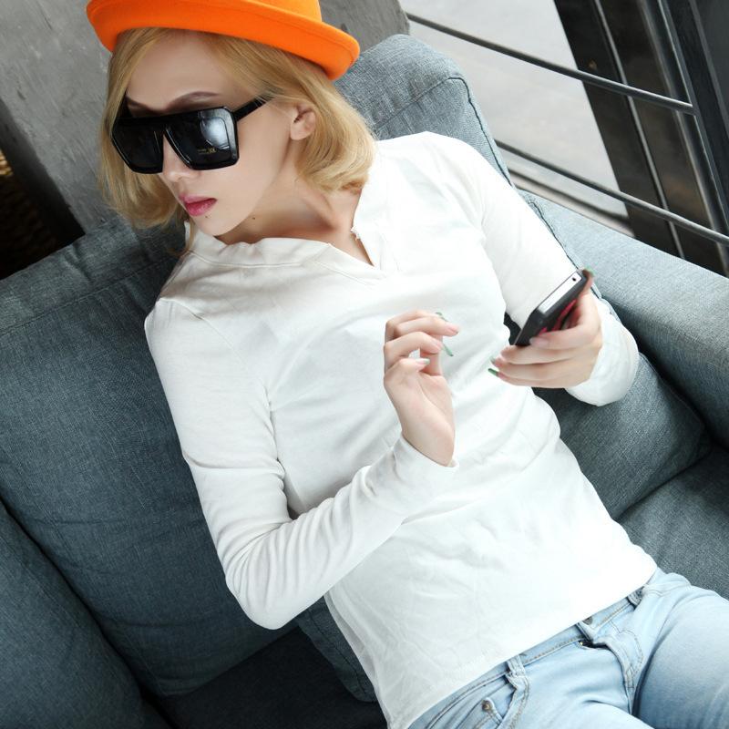 春秋新款韩版女装双V领长袖纯色T恤 百搭女式修身显瘦打底衫批发