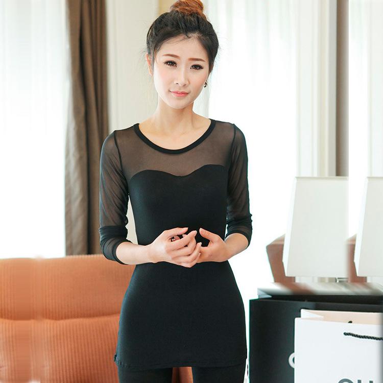 2014春款韩版透明网纱拼接性感修身黑色长袖T恤女装百搭打底衫