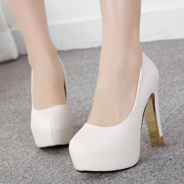 The shallow mouth of new fund of autumn single shoe heels thick with female ultra-high with white waterproof platfo's main photo