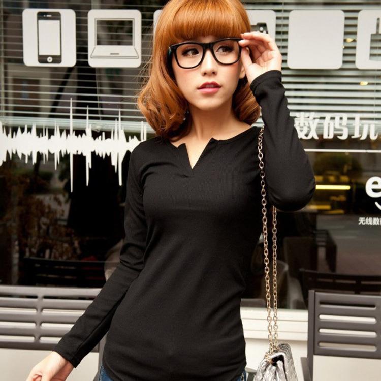 新款服装纯棉V领后开叉女式T恤衫 百搭修身简约长袖打底衫 代发