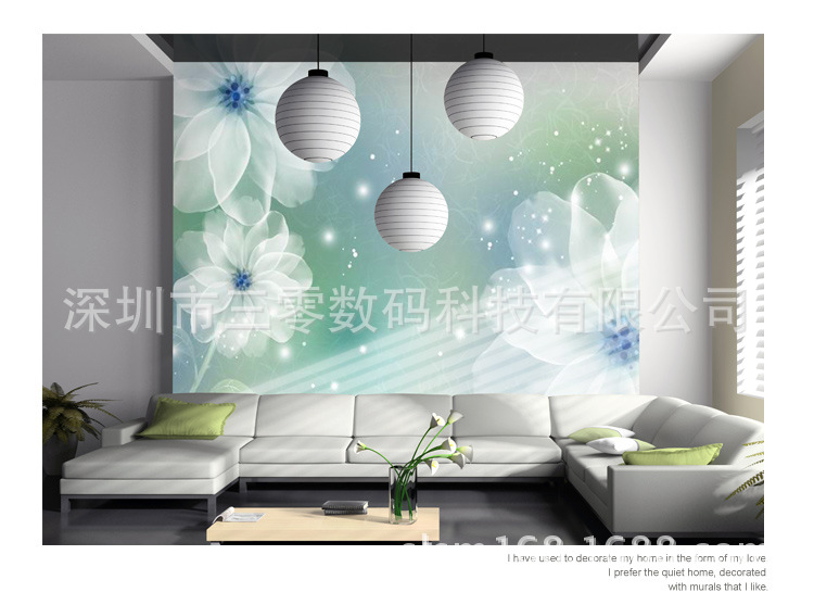 【沙发大型壁画|清新花卉卧室个性背景墙|现代