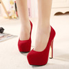 In the spring of 2015 the new sexy high heel 14 cm thick with red wedding shoes waterproof high documentary