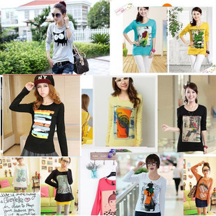 Women's long-sleeved T-shirt brand factory outlets Korean women's autumn and winter of the original single forei