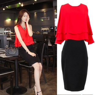 Blood loss clearance! ! ! Even fashion style two-piece suit dress package hip Slim 8599