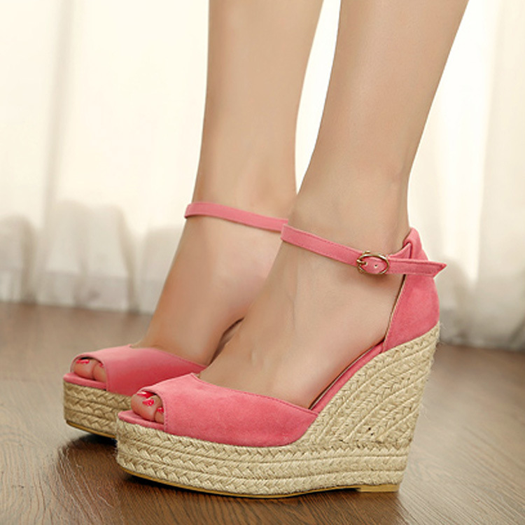 Comfortable sandals woven hemp rope wedge sandals buckles joker thick bottom fish mouth shoes's main photo