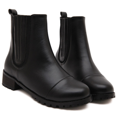 【MOQ 50 pairs】2015 new winter Joker comfortable flat black ankle boots motorcycle boots's main photo