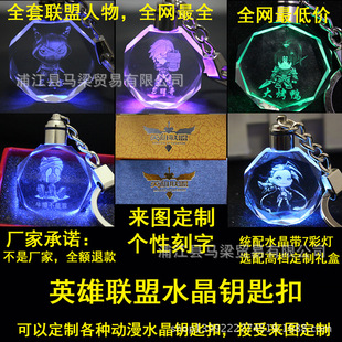 Wholesale animation game League crystal keychain lol Bright luminous hands to do a generation of fat