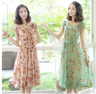 l bohemian floral dress women Slim long-sleeved chiffon dress wholesale