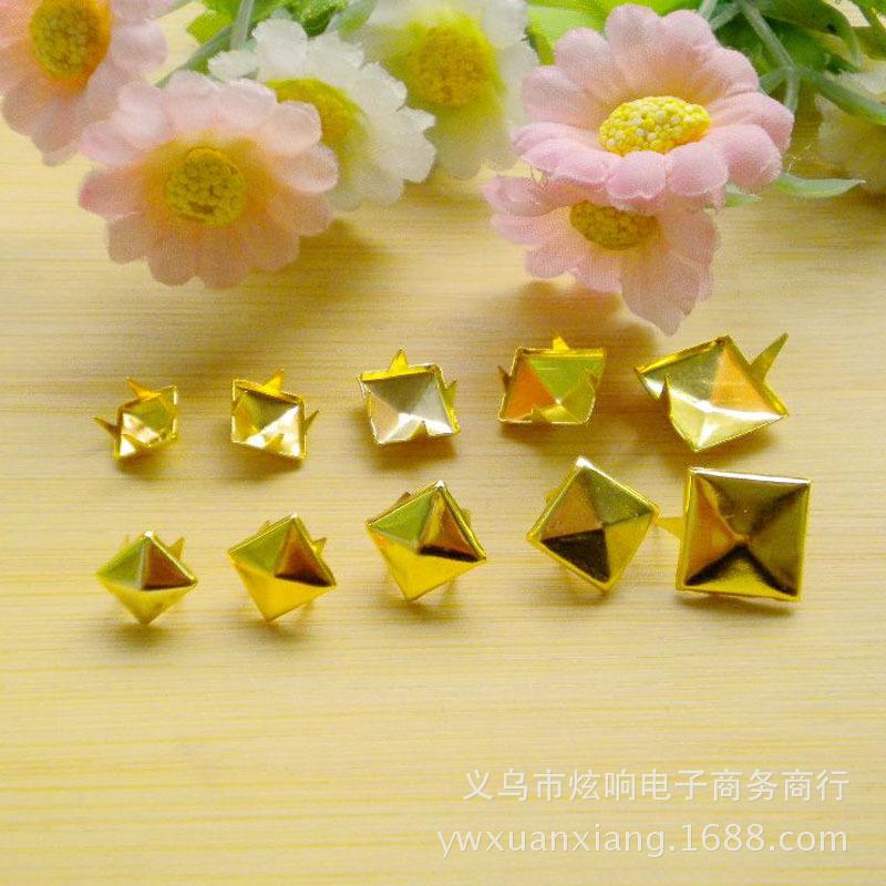 7/8/9/10/12mm金色金属DIY铆钉金字塔方形钉 手机美容饰品配件
