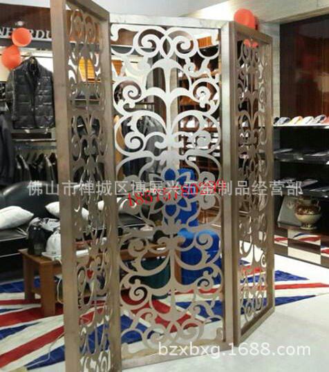 服装专卖店活动折叠不锈钢隔断花格,各种活动不锈钢屏风定
