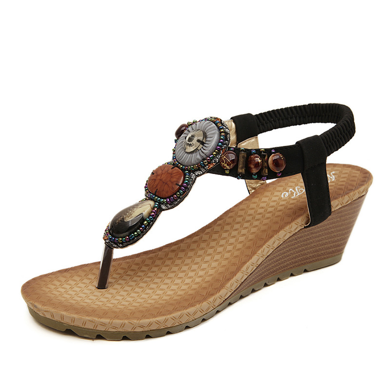 2015 Bohemian national wind wedges shoes sandals handmade beaded sandals's main photo
