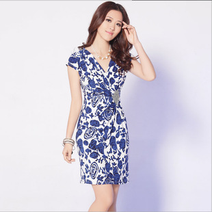 Factory direct new summer 2014 new short-sleeved v-neck dress dress women a generation of fat
