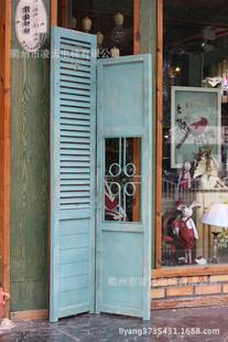 批发法式乡村做旧家居复古镂空斑驳百叶折叠屏风2屏玄关隔