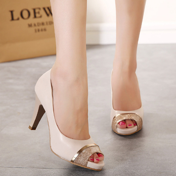 The new autumn Simple joker fish mouth high-heeled shoes high light mouth thick with OL documentary shoes's main photo