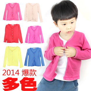 Spring candy-colored long-sleeved cardigan for boys and girls cardigan jacket 2014 new Korean children's clothing