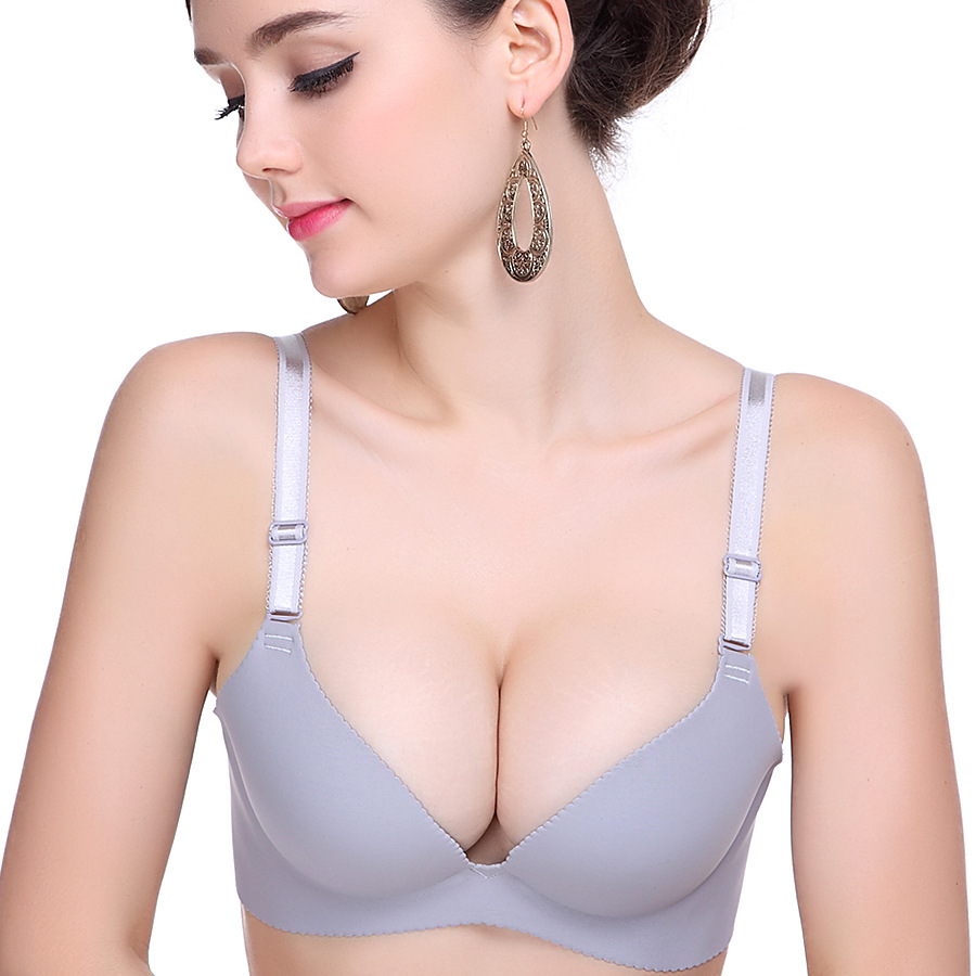 Smooth Seamless deep V sexy girl underwear sexy bra gather a bra