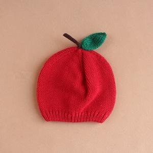 外贸原单可爱小苹果宝宝秋冬毛线帽全棉红色针织帽儿