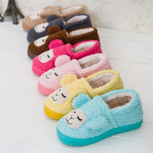 The new small sheep cotton slippers home package with cotton slippers slip heavy-bottomed female cute plush cotton-padde
