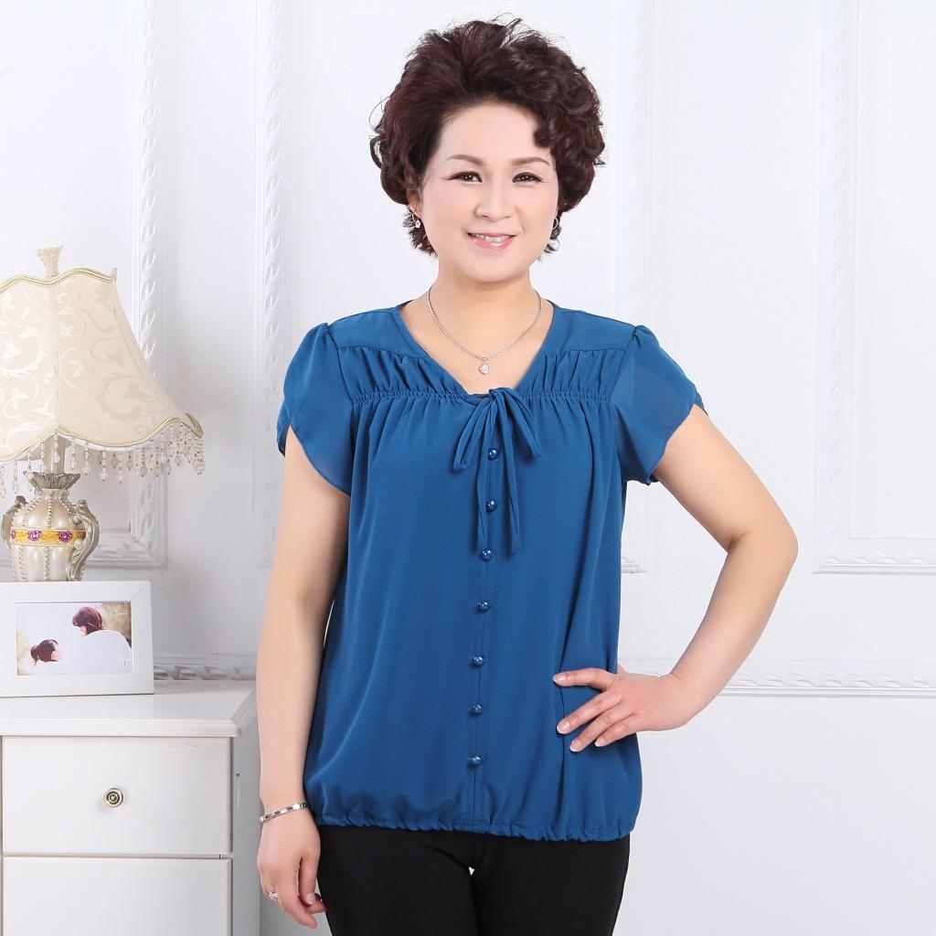 【中老年女装 夏季新款休闲女式圆领系带雪纺