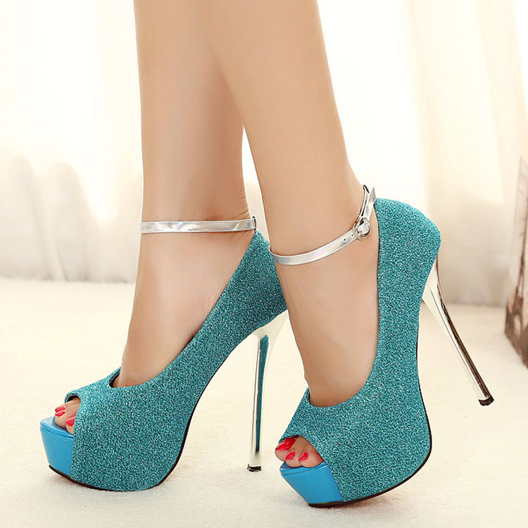 Han edition shoes new sexy fish mouth sandals foot ring with waterproof fine ultra high heels big yards for women's shoe's main photo