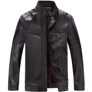 Middle-aged men's thick winter coat PU leather men wander wholesale supply network to spread the leather jacket