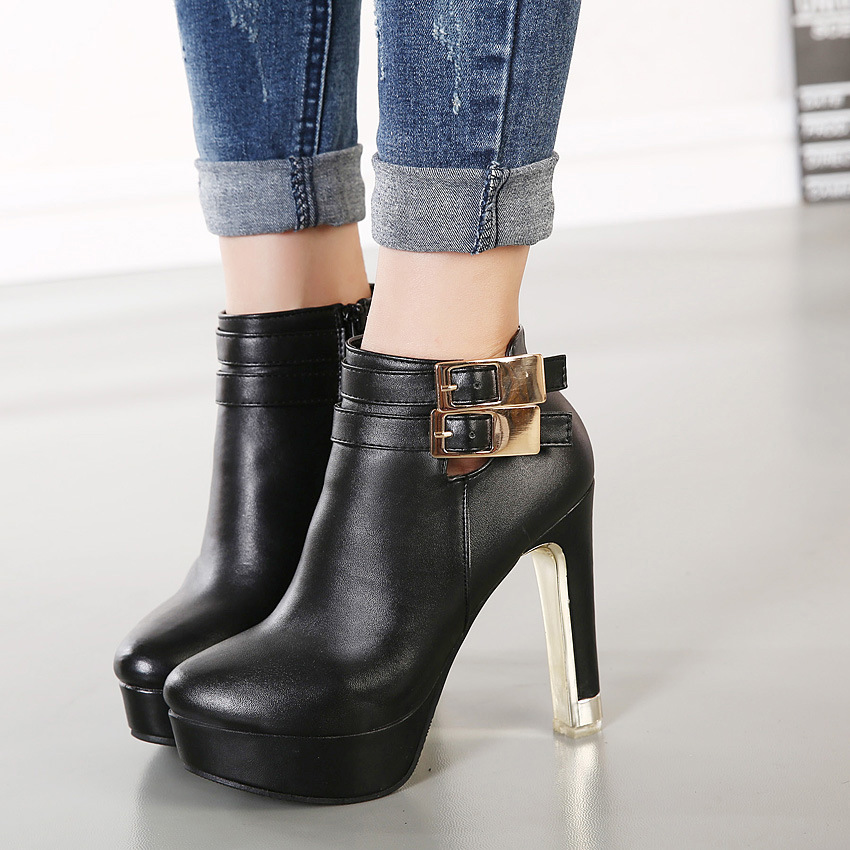 2015 new winter Europe and the United States high heel boots and waterproof machine belt buckle thick with round head ba's main photo