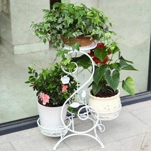 凯华欧式铁艺花架 家居时尚金属多层花盆架 室内可移动落地式花架