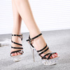 Big size high heel sandals summer new Korean fashion crystal bottom cross straps high-heeled shoes