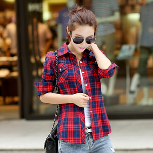 The new cotton plaid long-sleeved shirt autumn long-sleeved shirt female British style plaid shirt factory direct wholes