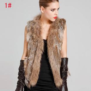 Explosion models raccoon fur collar knit vest rabbit fur vest wholesale fashion fringed knit vest
