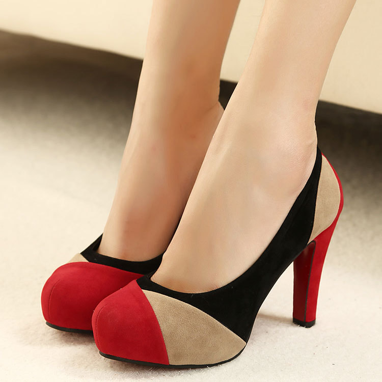 【MOQ 50 pairs】Han edition shoes fashion color stitching comfortable suede pale sexy mouth fine low heels for shoes's main photo
