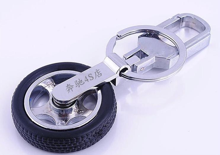 奔驰金属钥匙扣 定做广告钥匙圈 4S店汽车锁匙扣 旋转轮胎