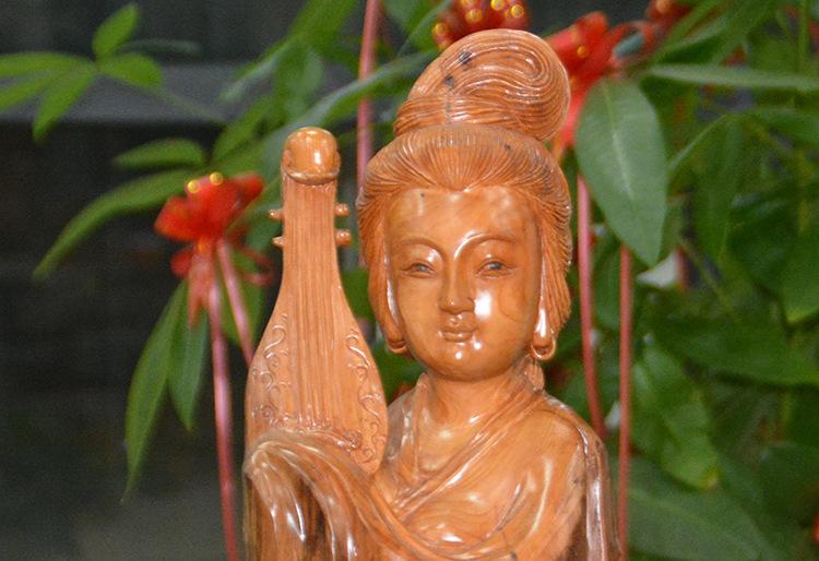 【清和园长裤脱骨红豆杉美女茶业美女工艺品雕像清纯根雕图片
