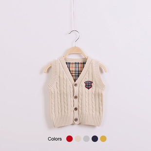 Korean version of the new children's clothing spring models sweater V-neck sweater baby boy sweater baby sweater sol