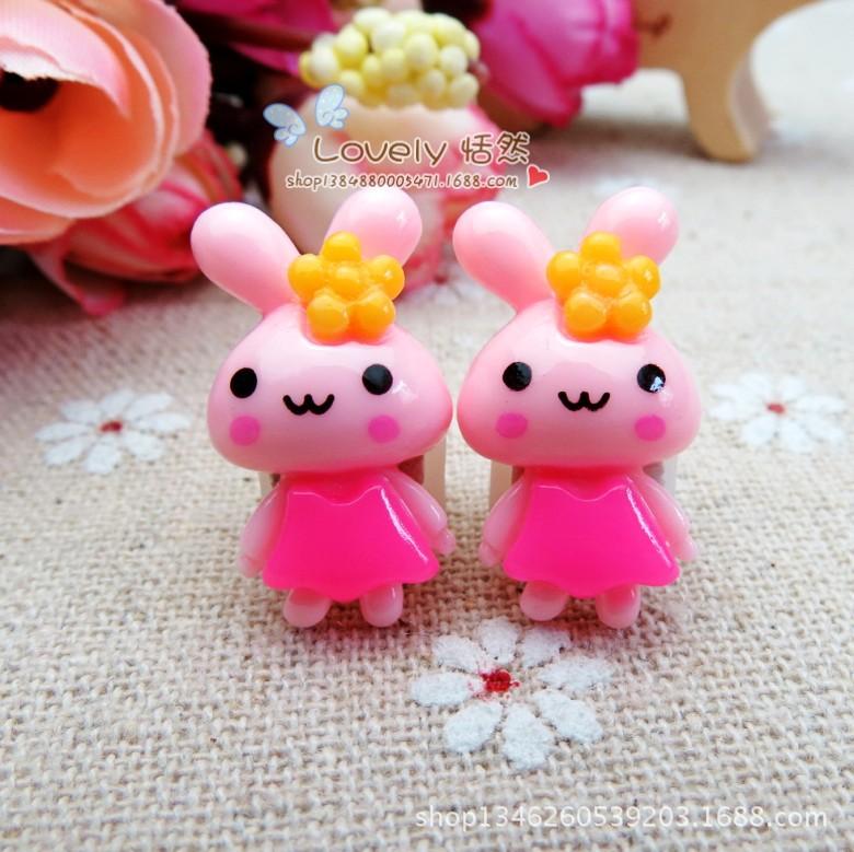 小兔子戴花_【韩国儿童卡通发夹皮筋套装可爱超萌戴花小