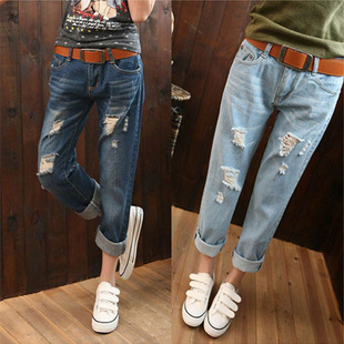 Spring and summer Korean hole jeans female loose big yards jeans female Harlan nine points a generation of fat