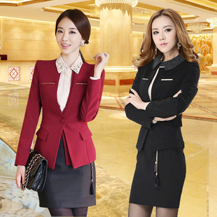 2015 spring new women's long sleeve small professional fashion jacket collar OL temperament Slim suits wholesale