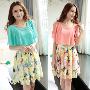 2014 summer women's short-sleeved floral skirt big yards was thin summer dress summer chiffon dress child