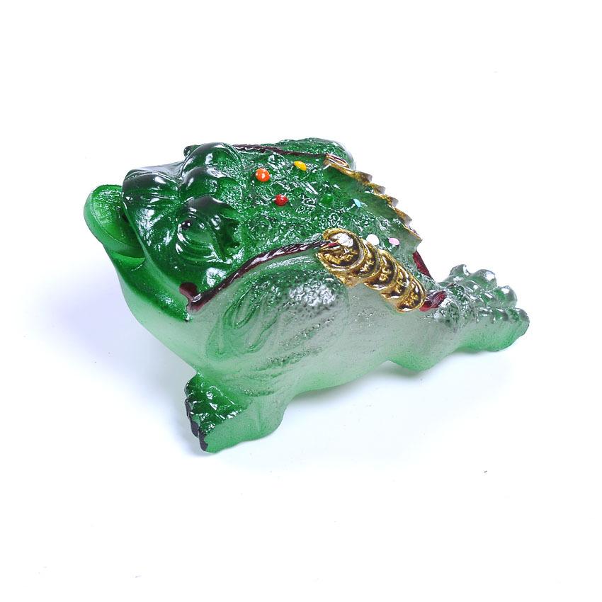 批發變色茶寵小號綠金蟾樹脂工藝茶玩桌面精品開水燙具套裝