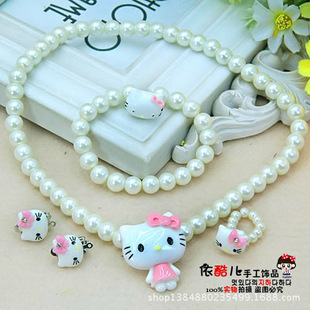 Korean fashion children's pearl necklace set headdress hair accessories bow Yiwu jewelry wholesale Department K girl