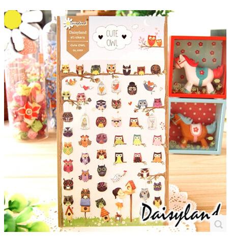 【Daisyland】韩版纸质贴纸 日记手帐装饰贴纸 猫头鹰 1059